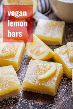 These vegan lemon bars are easy to make from simple ingredients! Bursting with zippy flavor, these dairy-free sweet treats are perfect for snacking or a light dessert, and a must-have at spring and summer gatherings. Vegan Protein Bars, Vegan Bar, Vegan Treats, Vegan Snacks, Vegan Food, Vegan Lemon Bars, Coconut Bars, Dairy Free Lemon Bars, Vegan Potluck