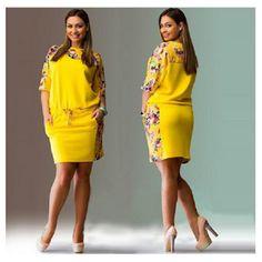 Large Size 2017 Summer Dress Big Size Print Dress Blue Red Yellow Straight Dresses Plus Size Women Clothing Vestidos Vestidos Retro, Vestidos Plus Size, Mini Vestidos, Plus Size Womens Clothing, Plus Size Fashion, Clothes For Women, Curvy Fashion, Moda Afro, Big Size Dress