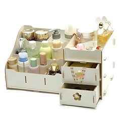 Cosmetic storage rack make up organizer for sale Cd Storage Box, Make Up Storage, Wooden Storage Boxes, Cosmetic Storage, Desk Storage, Storage Rack, Diy Wood Desk, Diy Desk, Wooden Diy