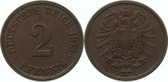 Kleinmünzen  2 Pfennig 1873 C Sehr selten in dieser Erhaltung. Vorzüglich - Stempelglanz
