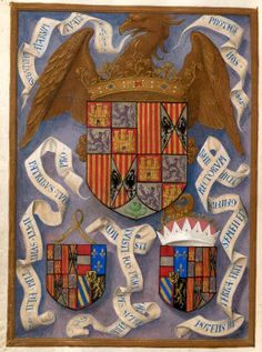 The arms of Ferdinand and Isabella with the arms of Infante John and Margaret of Austria (left) and the arms of Philip of Austria, Duke of Burgundy, and Infanta Joanna, Netherlands (f. 436v.) --  Breviary, Use of the Dominicans ('The Breviary of Queen Isabella of Castile'), Bruges, c. 1497 [Add MS 18851] -- See more at: http://www.bl.uk/manuscripts/FullDisplay.aspx?ref=Add_MS_18851