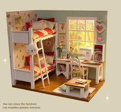 MINIATURE Dollhouse diorama POPPY TWIN BEEDROOM ! http://www.ebay.com/sch/keerasuite/m.html