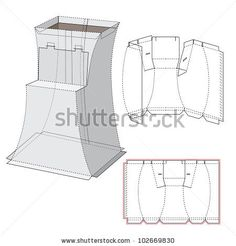 Curved Display Box and Die-cut Pattern - stock vector