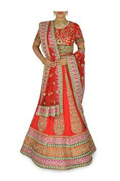 Red color wedding lehenga choli with orange border – Panache Haute Couture