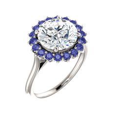 Stuller . Style 71606, 3.02 carat diamond and tanzanite halo engagement ring, $39,815, Stuller