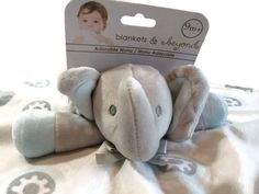 Blankets and Beyond Security Blanket Elephant Gray Blue Lovely Baby New #BlanketsandBeyond