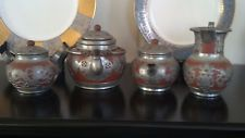 Antique Chinese YIXING ZI SHA Clay  Pewter Dragon Tea Set - I bought this from a friends estate sale! Mint condition!! I am in love! Possible circa 1900...