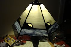 6 panel stained glass lampshade.
