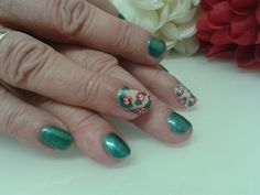 "Roses nail art with Gelish colour ""mint icing"". By Felicity Burgess - Young at Belle Dame Nails."