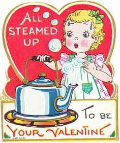 Three precious vintage Valentines. I really like the one with a tea kettle (because I really like tea!). This would be great for cards, scrapbooking, printing & framing, gift tags, altered art, decoupage, etc.  Papergreat: Three vintage Valentine's Day cards