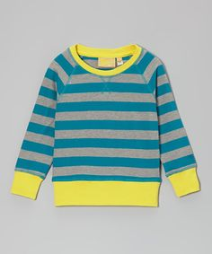 Take a look at this Boys&Girls Canary & Teal Stripe Organic Tee - Infant, Toddler & Kids on zulily today!