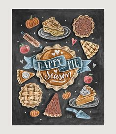 Items similar to Thanksgiving Decor - Happy Pie Season - Fall Art - Pumpkin Pie - Pumpkin Pie Print - Fall Decor - Autumn Print - Chalkboard Art on Etsy Chalkboard Print, Chalkboard Lettering, Chalkboard Designs, Fall Chalkboard Art, Chalkboard Ideas, Chalk It Up, Chalk Art, Speisenkarten Designs, Lily And Val