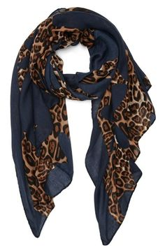Navy blue + Animal print = Amazing fall scarf