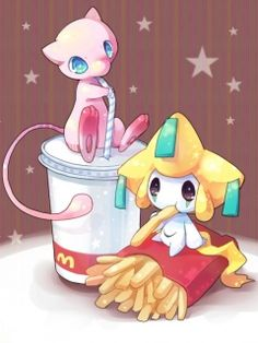 Jirachi and mew eating mcdonalds Pokemon