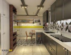 Cozinha projetada pelo escritório Kasa BR Arquitetura em Campina Grande - PB. Vizualização 3D: Studio 3D