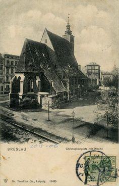 Wrocław.. Breslau.. Kościół św. Krzysztofa i brama Giełdy Zbożowej.. Christoforplatz mit Kirche.. 1906