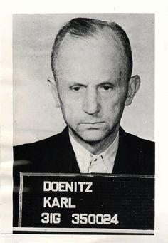 "Original caption: ""1945- ""Mug shot"" of Grand Admiral of the German Fleet and Fuehrer after the reported death of Hitler, Karl Doenitz, facing trial at Nurnberg."""