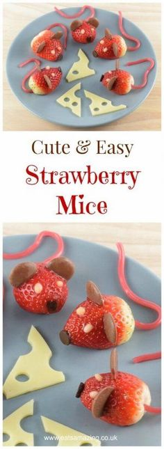 These strawberry mice make super cute kids party food - perfect for a Nutcracker party - fun food recipe with video tutorial from Eats Amazing #funfood #kidsfood #partyfood #foodart #strawberries #nutcracker #themedfood #cutefood #mice #edibleart #foodcraft #easyrecipe #cookingwithkids
