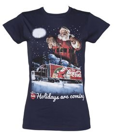 Ladies Coca Cola Holidays Are Coming Christmas T-Shirt