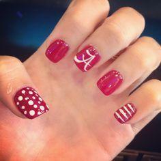 Great Ideas For Holiday Nails Love Nails, Fun Nails, Pretty Nails, Tina's Nails, Gel Nail Designs, Cute Nail Designs, Football Nail Art, Alabama Football Nails, Alabama Nail Art