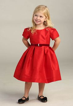 Flower Girl Dress Style DR3003_3004 - RED Poly- Silk Dress with Velvet Ribbon Trim and Rhinestone  Sure to be a hit this season, this poly- silk dress will have your little one feel like the belle of the ball! We absolutely love the short sleeves and simple, classic neckline. Dress comes with an attached sash that has the cutest rhinestone bow.  http://www.flowergirldressforless.com/mm5/merchant.mvc?Screen=PROD&Product_Code=AG_DR3003_3004b&Store_Code=Flower-Girl&Category_Code=Red