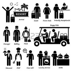 Pictogram vacation: Resort Villa Hotel Tourist Worker and Services Stick Figure Pictogram Icons