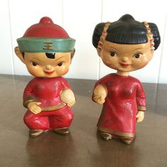Vintage Asian Bobblehead Dolls Nodders Chinese Made in Japan Set of 2 Boy and Girl by RetroResaleSanDiego on Etsy