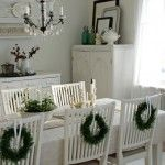 White Dining Room with Christmas Decorating