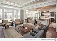 15 Close to Perfect Traditional Open Living Room Ideas | Home Design Lover The use of grey and beige is totally stunning.