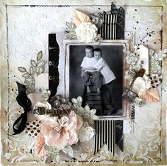 Beauty layout by Prima Educator, Cari Fennell for Prima using Lifetime collection, Odette flowers, metals and wood. #primamarketing #carifennell