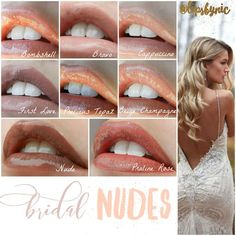 My favorite Nude Lip Colors for Brides. LipSense is perfect for wedding because it won't kiss off or smudge, and you won't need to worry about reapplying!: