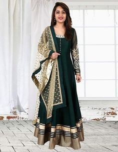 Bhagalpuri Silk Machine Work Green Semi Stitched Long Anarkali Suit - GGN at Rs 1499