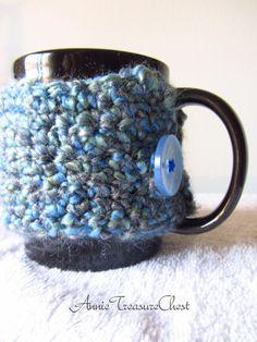 Fluffy Blue Mug Cozy by AnnieTreasureChest on Etsy