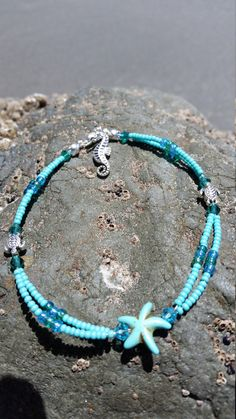 Turquoise starfish anklet by FireworksGandB on Etsy