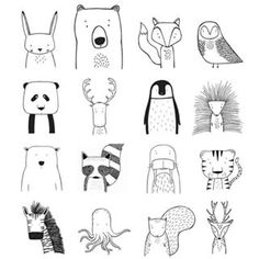 A few favourite characters, all handdrawn illustrations by The Wild - see more at thewildkidsapparel.com