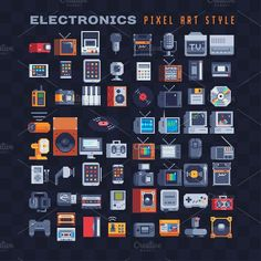 Electronics pixel art icons set. by VectorPixelStar on @creativemarket