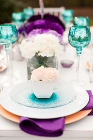 purple + teal tablescape, #wedding #parties #tablescape