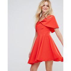 ASOS One Shoulder Folded Bardot Mini Prom Dress (£11) ❤ liked on Polyvore featuring dresses, red, mini prom dresses, mini dress, red cocktail dress, red mini dress and red prom dress