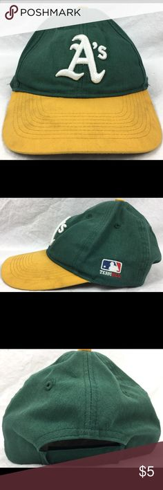 Oakland A's MLB OC Sports Youth Velcro StrapBack Hat has seen better days. Has light staining all over. Has a pressed on name tag and writing with sharpie on the inside. See pictures for details. NO TRADES. Any questions feel free to contact me. OC Sports Accessories Hats