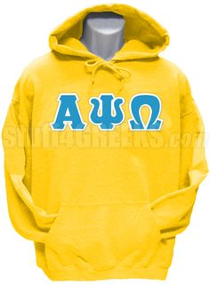 70d9a0fde8d9 Gold Gamma Phi Omega Fraternity pullover hoodie sweatshirt with the Greek  letters across the chest.