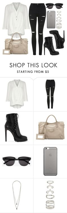 """Style #11148"" by vany-alvarado ❤ liked on Polyvore featuring River Island, Topshop, Alaïa, Balenciaga, Yves Saint Laurent, Native Union, Wallis and Forever 21"