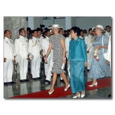 February 3, 1988: Princess Diana being welcomed by HRH Crown Prince Maha Vajiralongkorn on the occasion of their visit to Thailand as guests of Their Majesties the King and Queen, at the Air Terminal Headquarters Building of the Royal Thai Air Force, Bangkok. They bring 60th birthday greetings to King Bhumibol Adulyadej whom they will see the next day in Chiang-mai.