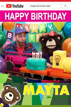 Sing the Happy Birthday song with Mayta and B! Watch B decorate the forest for Mr. Butterfly's surprise birthday party, play the find the ballon game and sing the Happy Birthday song. Mayta The Brown Bear features educational videos for children. Happy Birthday Kind, Birthday Songs, Surprise Birthday, Birthday Parties, Baby Learning Videos, Toddler Learning, Toddler Activities, Educational Videos, Kids Songs