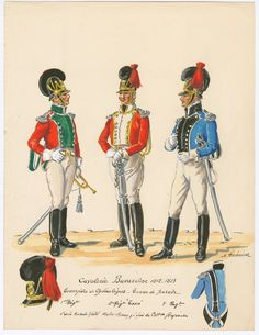 Bavaria; Chevau Legers, Trumpeters Parade Dress, 1812-13. L to R 1st Regiment, 2nd Regiment  3rd Regiment