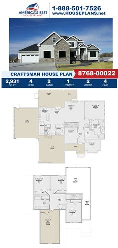 Covered in Craftsman details, Plan 8768-00022 is featured by 2,931 sq. ft., 4 bedrooms, 2.5 bathrooms, a covered deck, a loft, a bonus room, and a mud room. Visit our website for more information about this design. Craftsman Style Homes, Craftsman House Plans, Floor Plan Drawing, Cost To Build, Construction Cost, Best House Plans, Build Your Dream Home, Architectural Elements, Second Floor