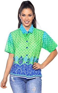 ISLAND HAWAII BOHO TOPS RELAXED FIT BASIC WOMEN'S Casual SHIRT YP_8658 Blue L. Do YOU want blouse in other colors Like Red | Pink | Orange | Violet | Purple | Yellow | Green | Turquoise | Blue | Teal | Black | Grey | White | Maroon | Brown | Mustard | Navy ,Please click on BRAND NAME LA LEELA above TITLE OR Search for LA LEELA in Search Bar of Amazon To get COMFORTABLE FIT and Right SIZE FOR YOU, request you to view SIZE CHART See LA LEELA's SIZE IMAGE in Product Image on the left. SAVE…