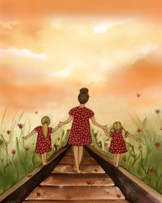 """gift for mom, 2 daughters, artwork, gift for daughter, Mother and daughter """"our path"""" art print by claudiatremblay on Etsy Mother And Daughter Drawing, Mother Art, Mother And Child, Mothers Day Gifts From Daughter, Two Daughters, Gifts For Mom, Mother Pictures, Oeuvre D'art, Cartoon Art"""