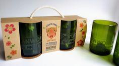 kit de vasos a partir de botellas de vino reutilizadas