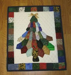 Christmas Tree Ties Quilt - 2019 - Quilt Decor Best Picture For patchwork quilting flowers For Your Taste You are looking for something, and it is going to tell you exactly what you ar Mens Ties Crafts, Tie Crafts, Christmas Tree Quilt, Christmas Sewing, Christmas Decor, Xmas, Quilt Block Patterns, Quilt Blocks, Quilting Projects