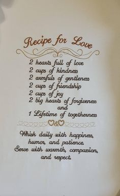 Wedding Quotes : Picture Description Recipe for Love Embroidery Design / weddings / Anniversary / Machine embroidery / Weddings quotes Border Embroidery, Paper Embroidery, Learn Embroidery, Embroidery Files, Embroidery Stitches, Wedding Embroidery, Towel Embroidery, Floral Embroidery, Simply Stamps